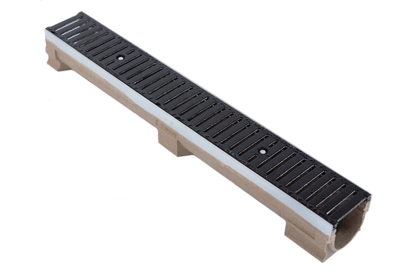 Drainage Channel Polymer Concrete with Steel Frame Cast Grate kl.C250 to 25t 10,8 cm