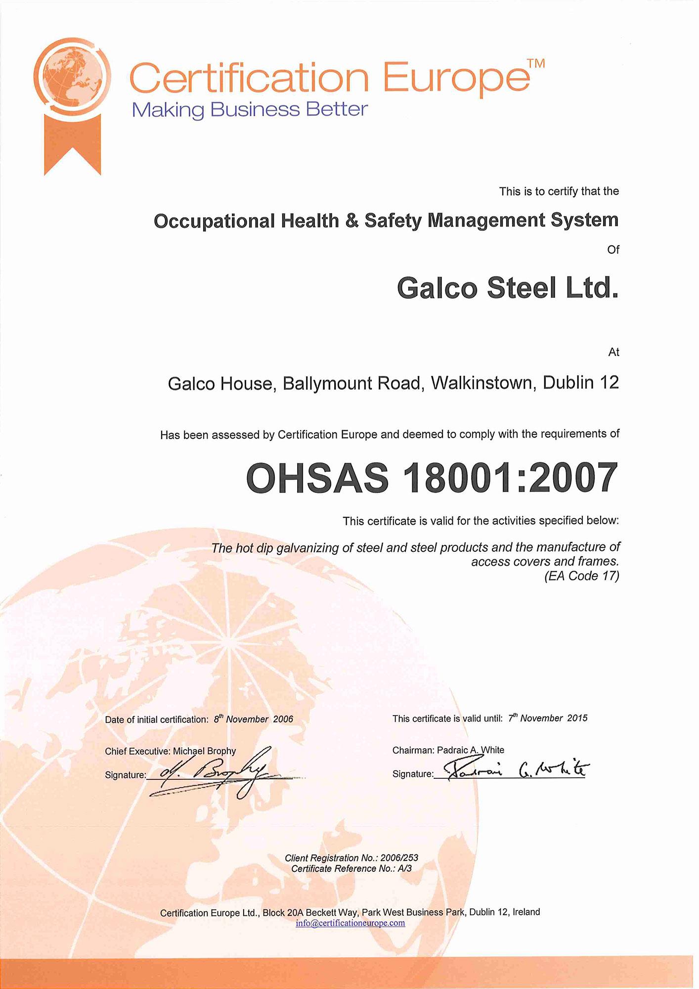 Galco OHSAS1 8001 2007