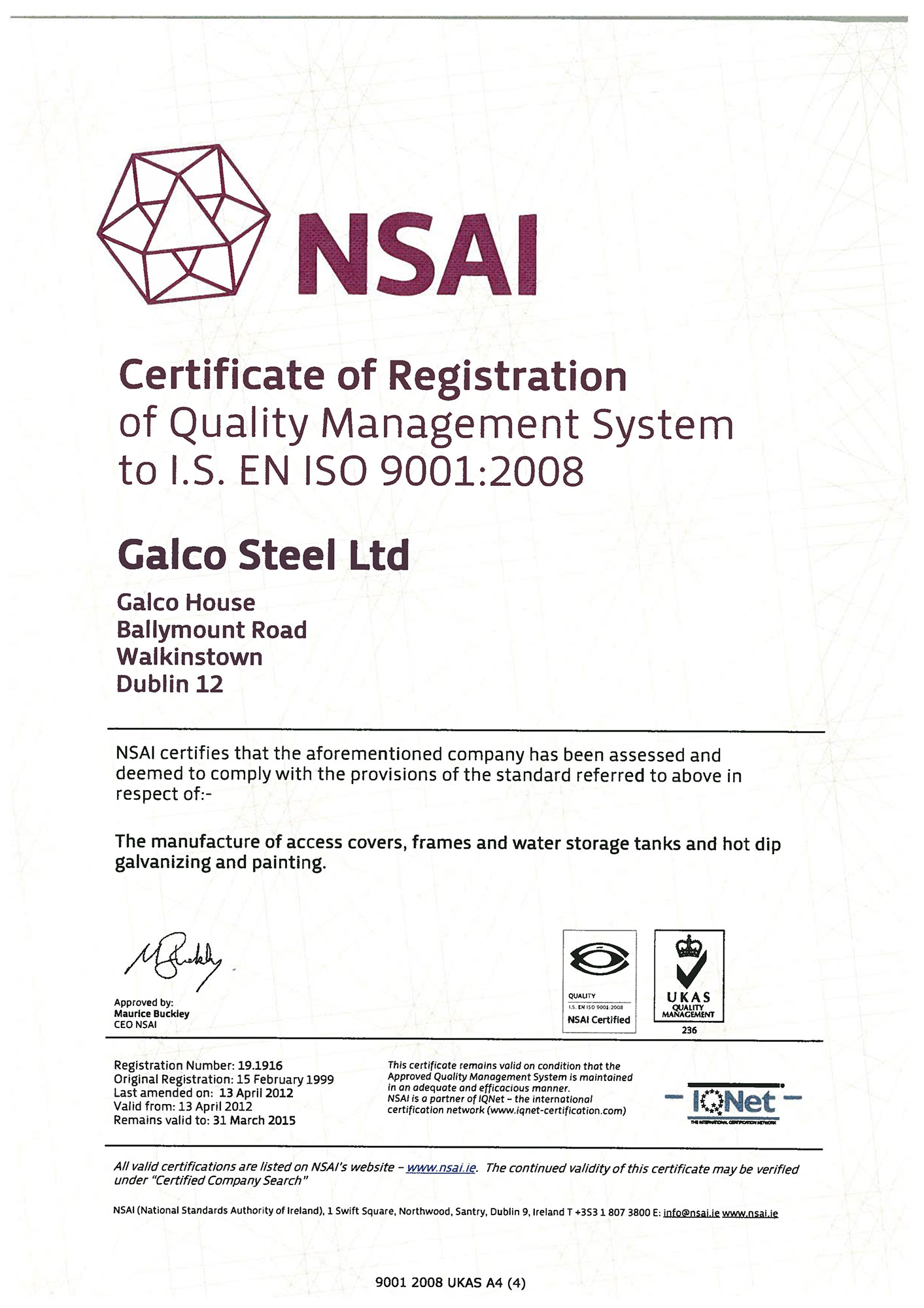 Galco ISO 9001 2008